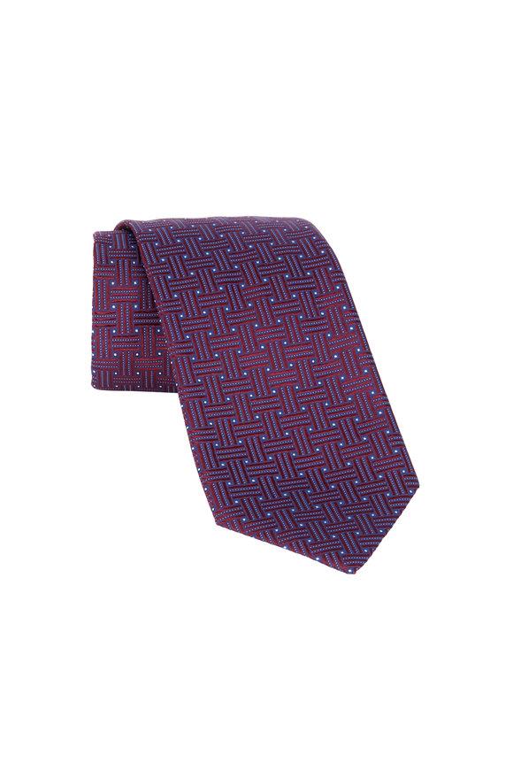 Eton Burgundy Big Weave Silk Necktie