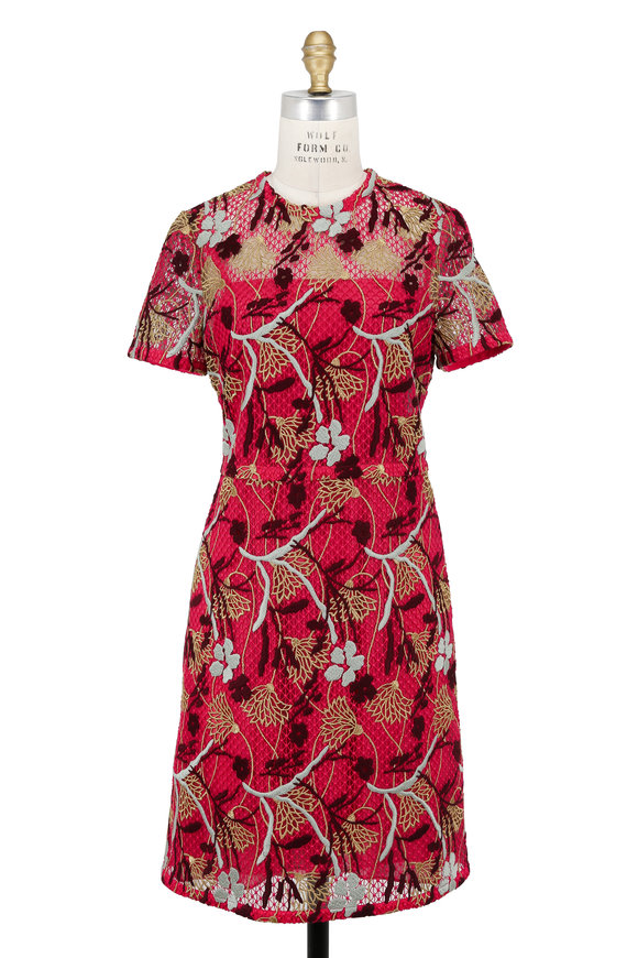 Valentino Raspberry Lotus Embroidered Guipure Lace Dress