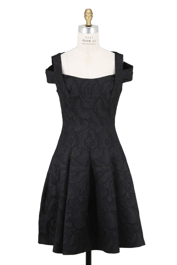 Talbot Runhof Nobue1 Black Rose Jacquard Cut-Out Shoulder Dress