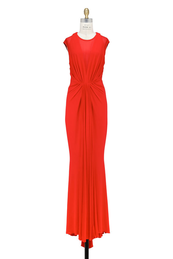 Talbot Runhof Nominee2 Red Jersey Illusion V-Neck Gown