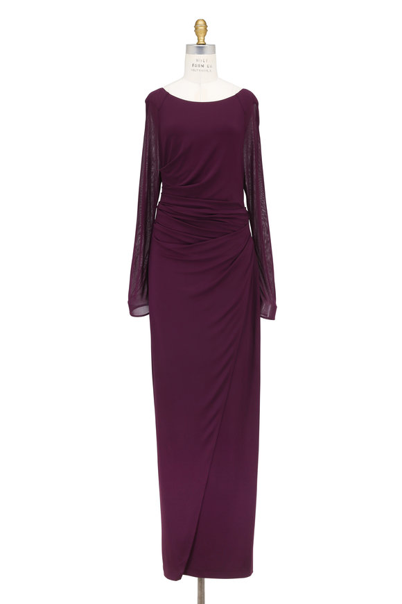 Talbot Runhof Novale1 Eggplant Contrast Tulle Long Sleeve Gown