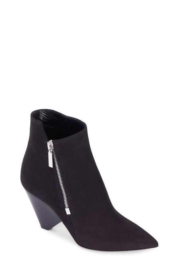Saint Laurent Niki Black Suede Asymmetric Ankle Boot, 85mm