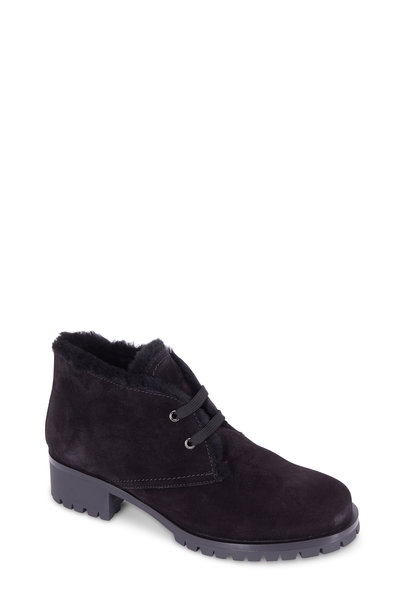 Prada - Black Suede Shearling Lined Lug Sole Boot