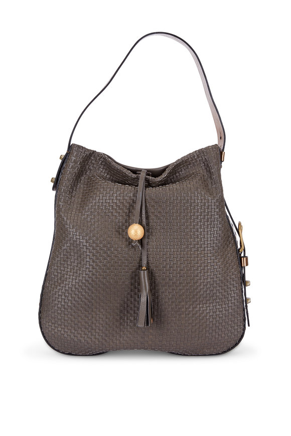 Henry Beguelin Forest Green Woven Leather Hobo Bag