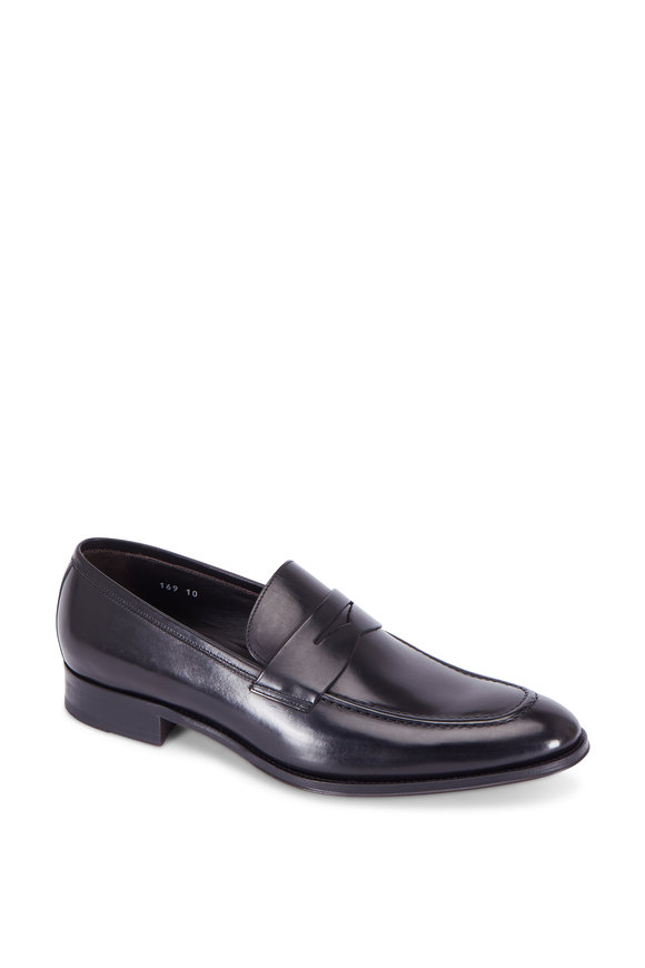 To Boot New York Alexander Black Leather Penny Loafer