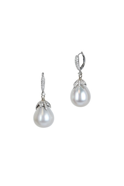 Frank Ancona - White Gold South Sea Pearl & Diamond Drop Earrings