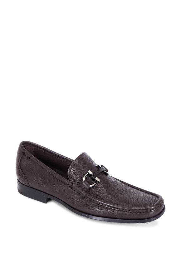 Salvatore Ferragamo Grandioso Hickory Brown Leather Bit Loafer