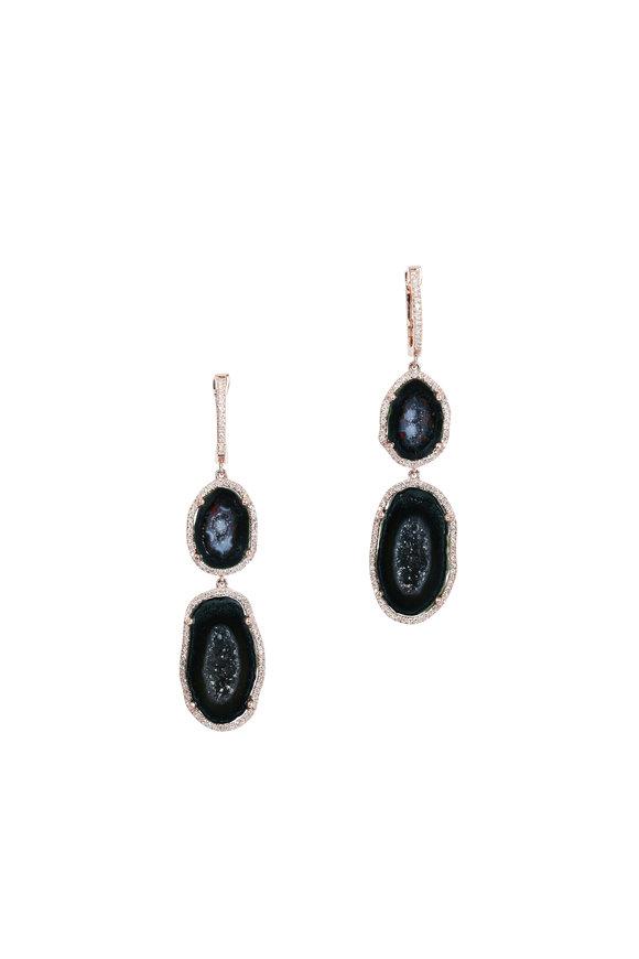Kai Linz Rose Gold Geode & Diamond Drop Earrings