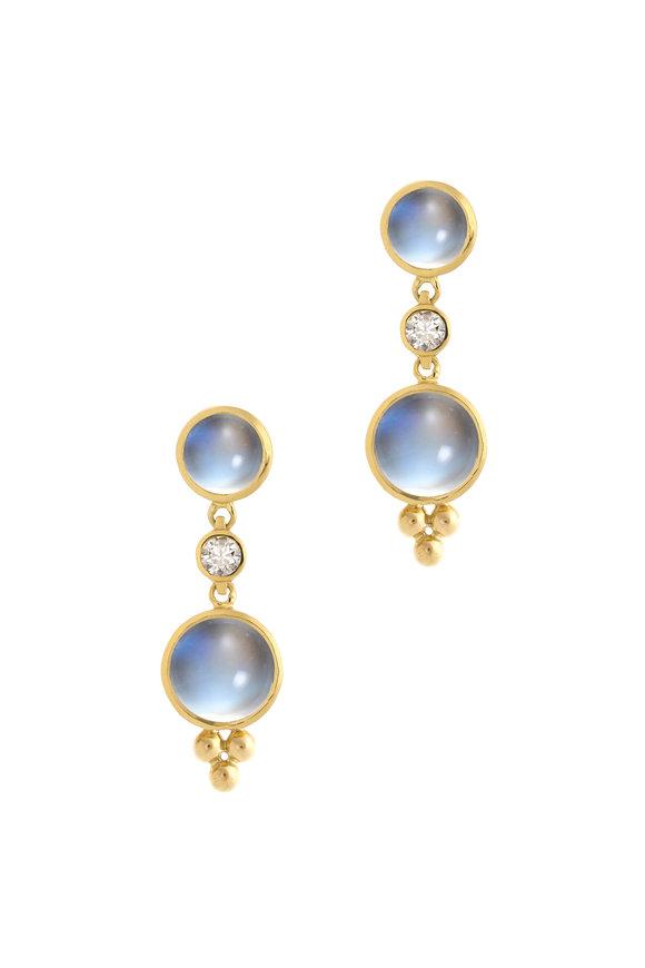 Temple St. Clair 18K Gold Moonstone & Diamond Double Drop Earrings