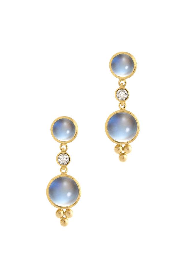 18K Gold Moonstone & Diamond Double Drop Earrings