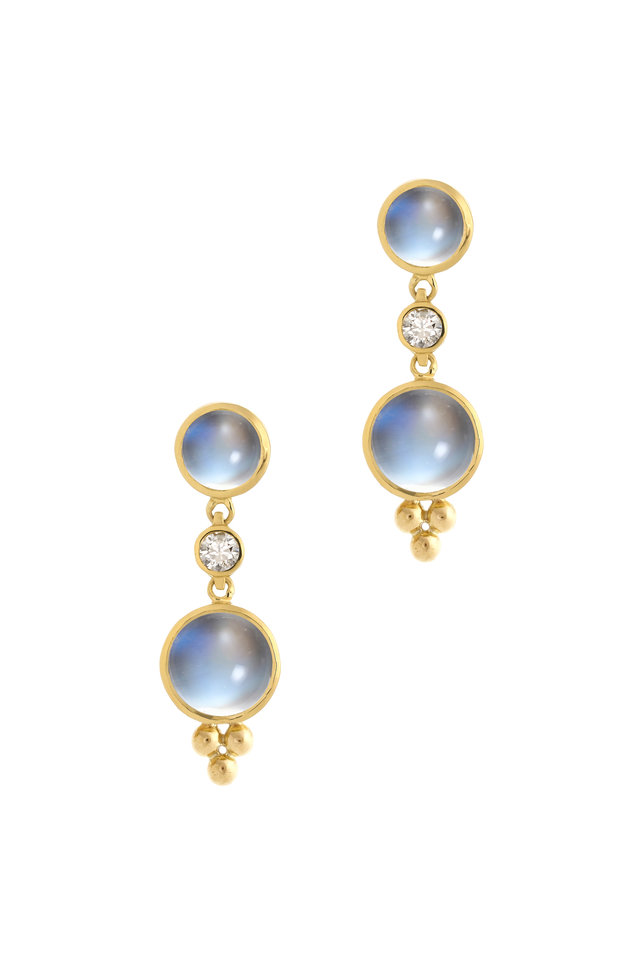 18K Gold Moonstone & Diamond Double Drop Earrings
