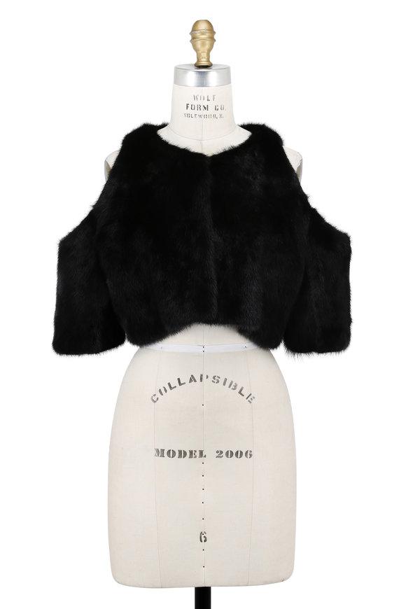 Oscar de la Renta Furs Black Mink Open Shoulder Bolero