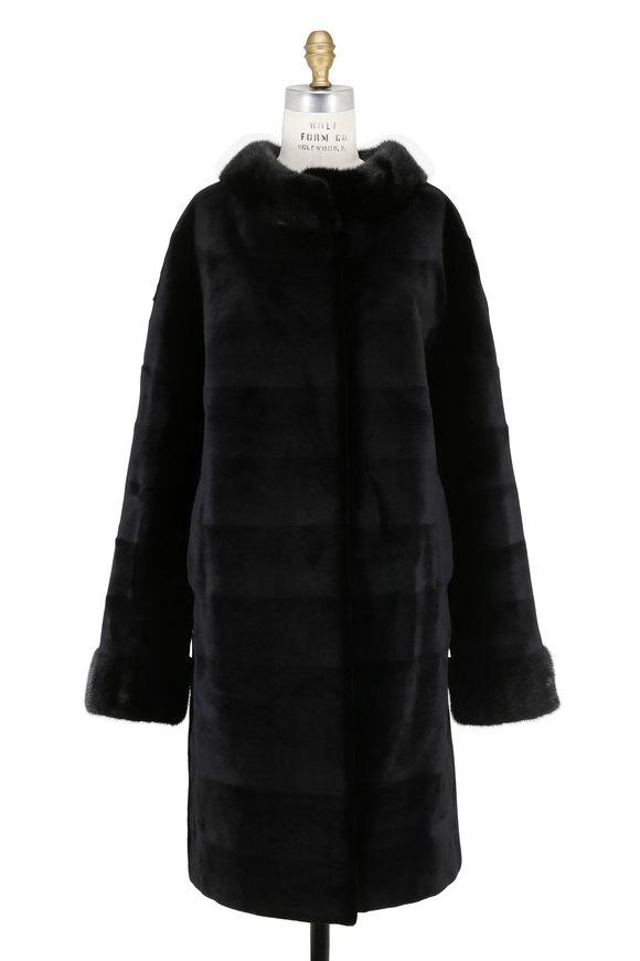 Oscar de la Renta Furs Black Sheared Mink Drop Shoulder Coat