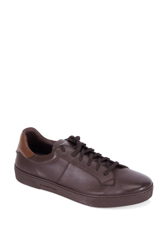 Ermenegildo Zegna Vittorio Brown Leather Sneaker