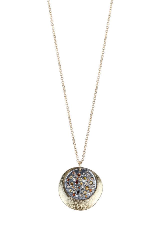 18K Yellow Gold Circle Pendant Necklace