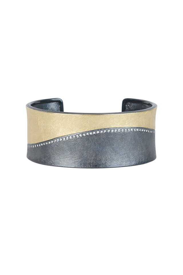 Rose Gold & Sterling Silver Swirl Cuff Bracelet