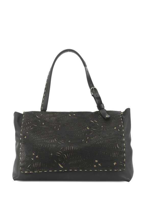 Henry Beguelin Valery Black & Gold Leather Lasercut Shoulder Bag