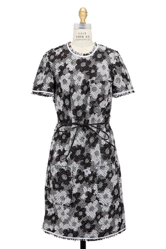 Paule Ka Black & White Floral Tweed Cap Sleeve Dress