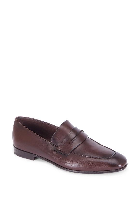 Ermenegildo Zegna Asola Dark Brown Leather Penny Loafer