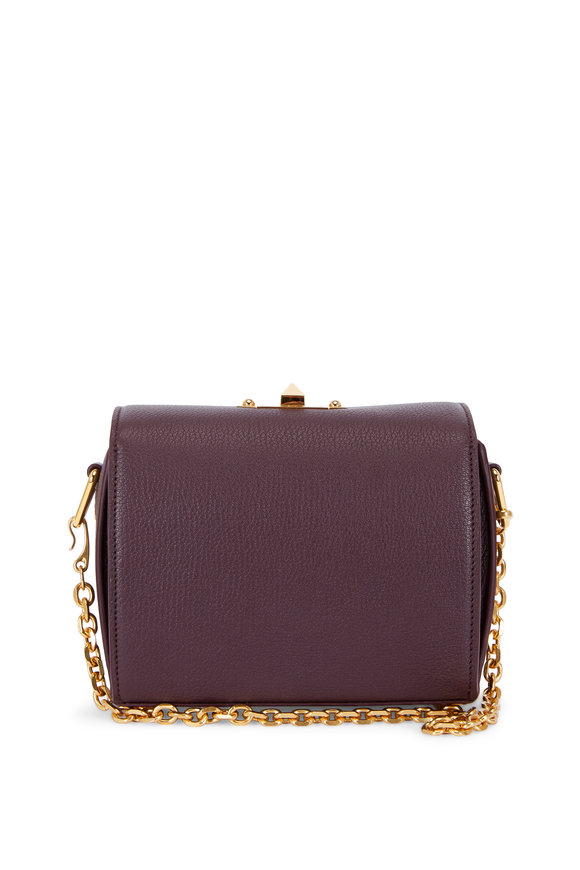 Alexander McQueen Burgundy Grained Leather Box Bag With Chain