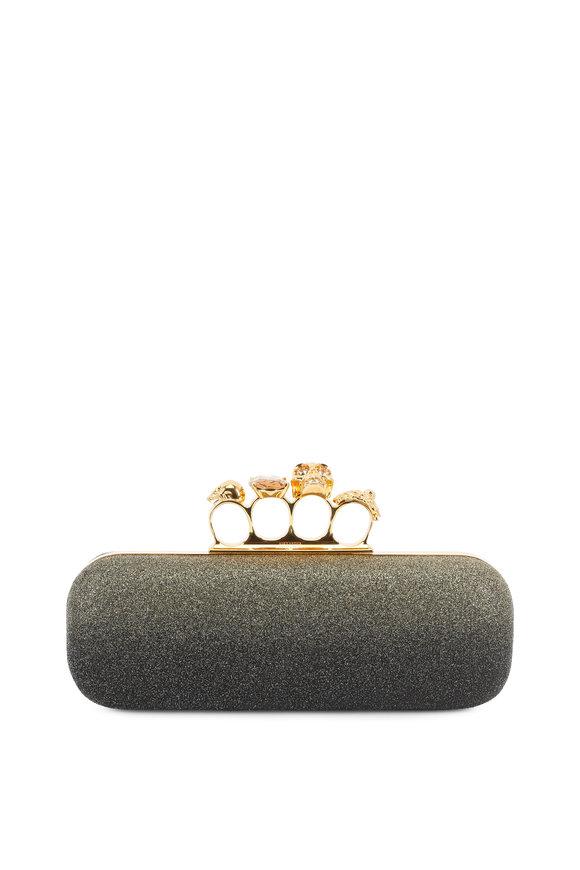 Alexander McQueen Black & Gold Glitter Ombré Knuckle Clutch
