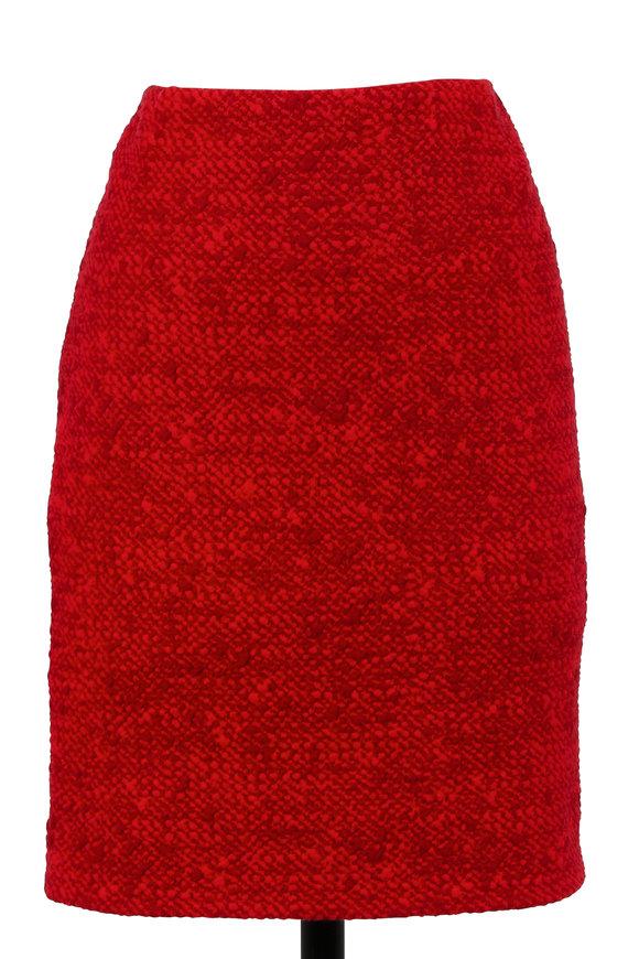 Akris Punto Chili & Ruby Jacquard Straight Skirt