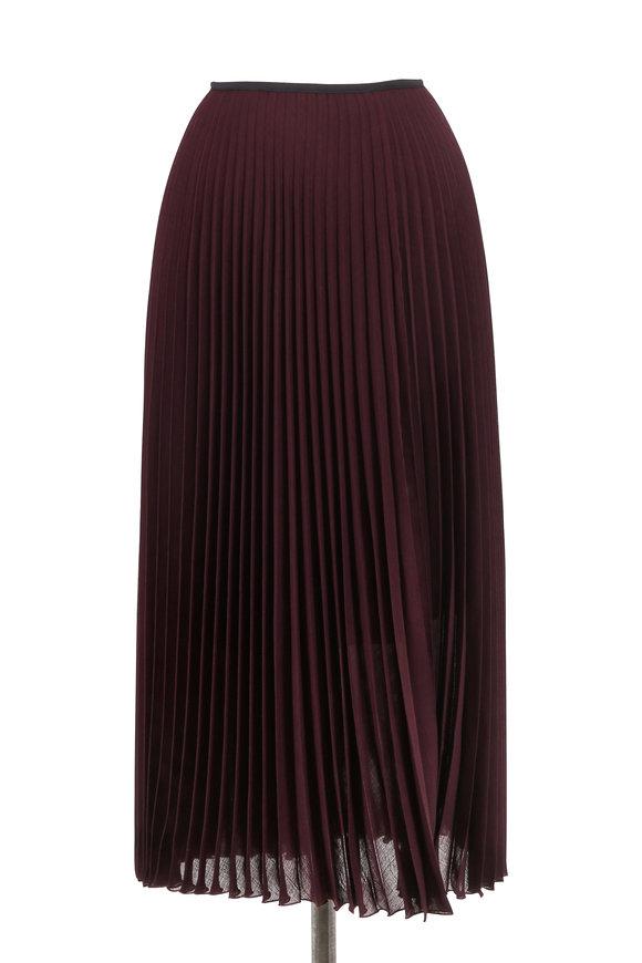 Akris Punto Wine Lightweight Wool Plissé Midi Skirt