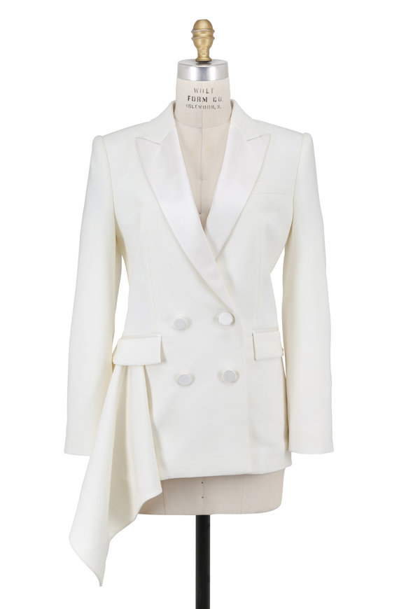 Alexander McQueen Ivory Double-Breasted Draped Side Tux Jacket