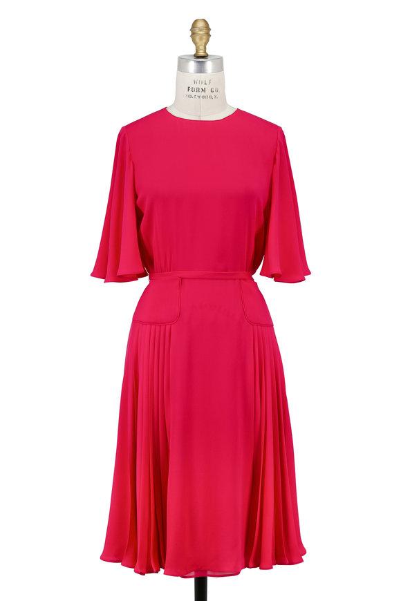 Valentino Raspberry Crepe De Chine Flutter Sleeve Dress