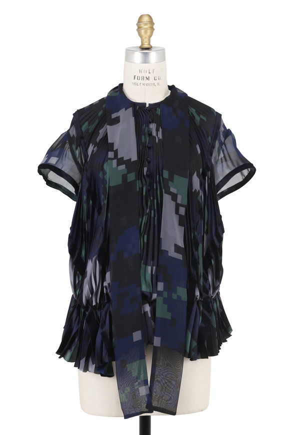 Sacai Black Digital Camouflage Accordion Pleated Blouse
