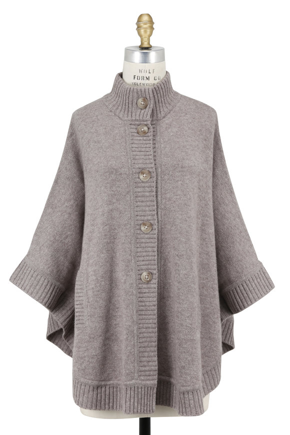 Kinross Antler Cashmere Button Front Cape