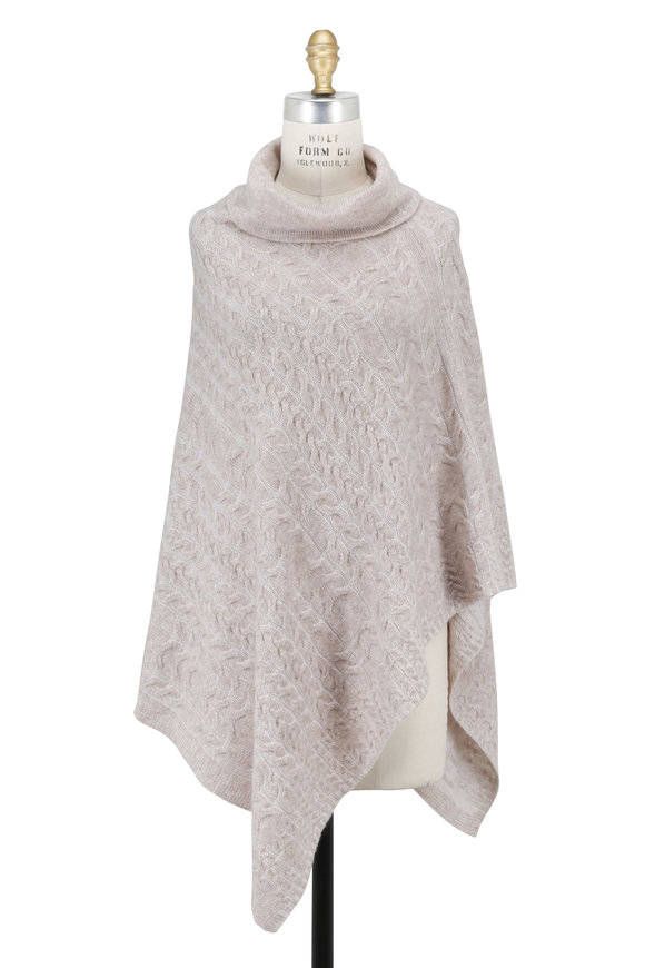 Kinross Fawn & Ivory Plaited Cable Funnel Neck Poncho