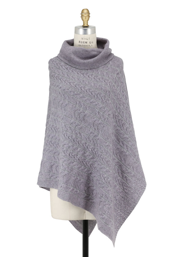 Kinross Thistle Sterling Plaited Cable Funnel Neck Poncho