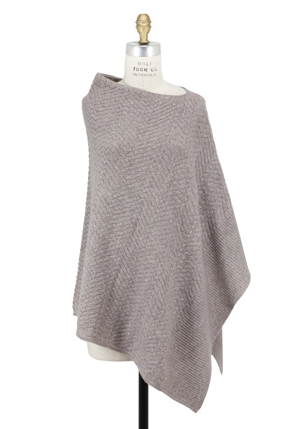 Kinross Antler Cable Cashmere Draped Poncho
