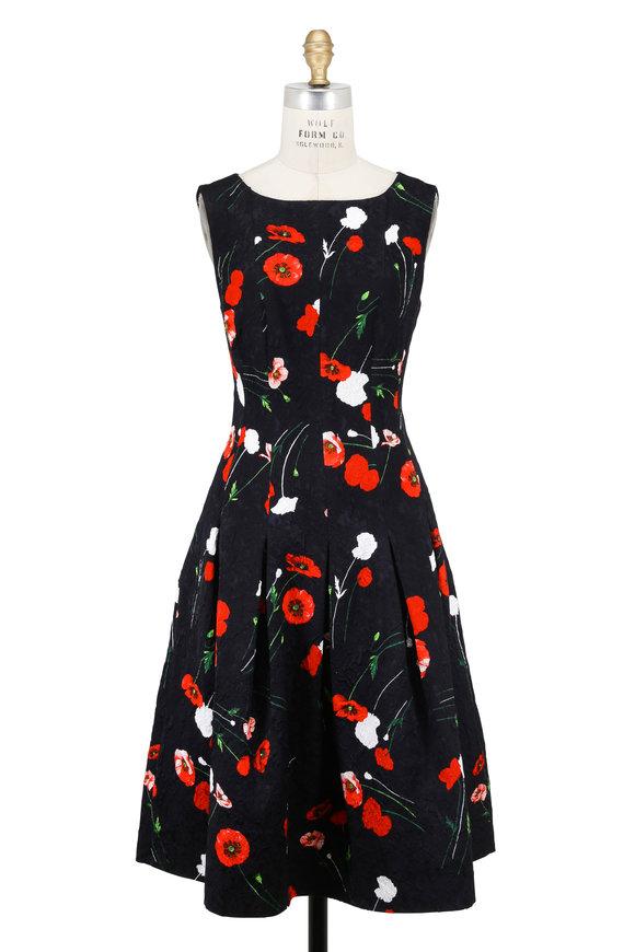 Oscar de la Renta Black & Red Floral Jacquard Sleeveless Dress