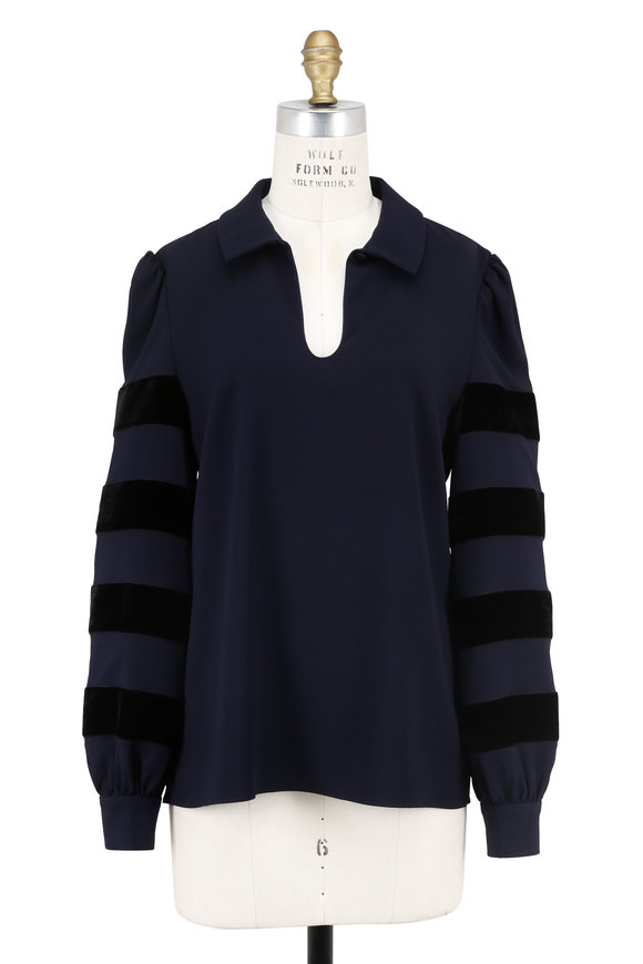 Oscar de la Renta Navy Silk & Velvet Striped Sleeve Blouse