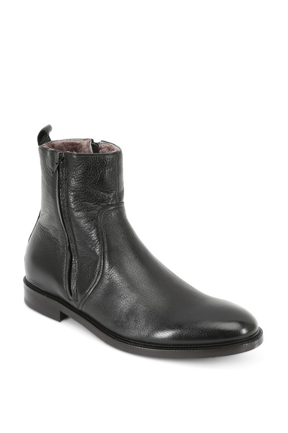 To Boot New York Sheldon Black Leather Shearling Lined Boot