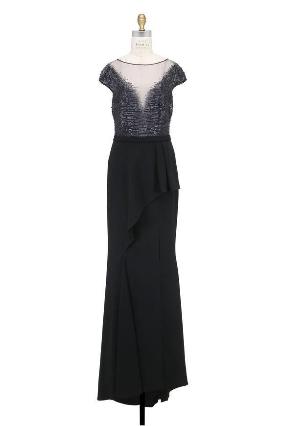 Pamella Roland Navy & Black Beaded Cap Sleeve Gown