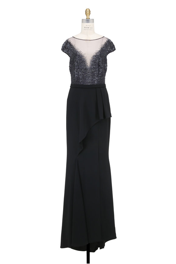 Pamella Roland Navy & Black Beaded Cap Sleeve Gown