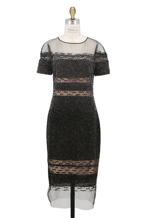 Pamella Roland Moss & Gunmetal Crunchy Sequin Short Sleeve Dress