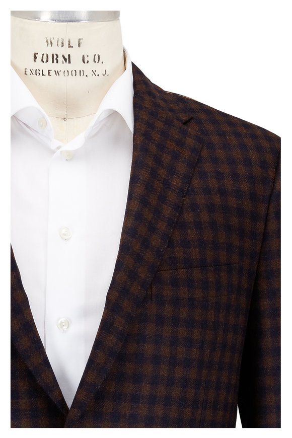 Hickey Freeman Brown Check Wool & Cashmere Sportcoat