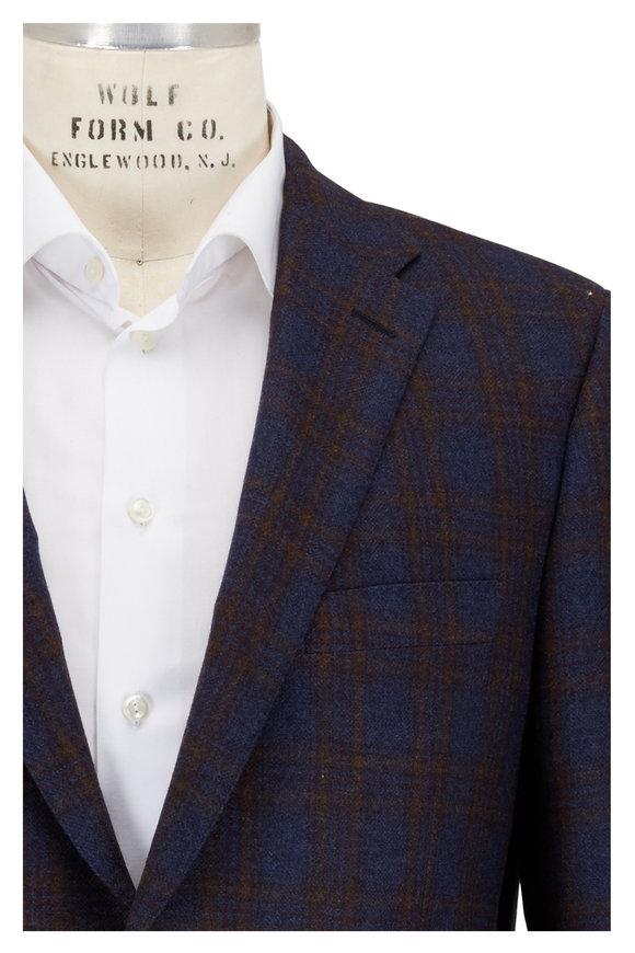 Hickey Freeman Blue Plaid Wool & Cashmere Sportcoat