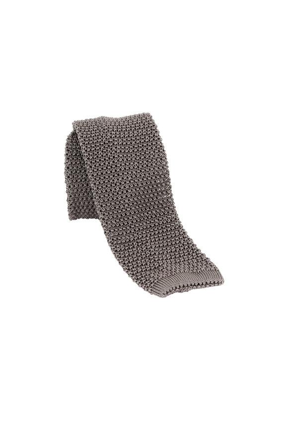 Charvet Gray Silk Knit Necktie