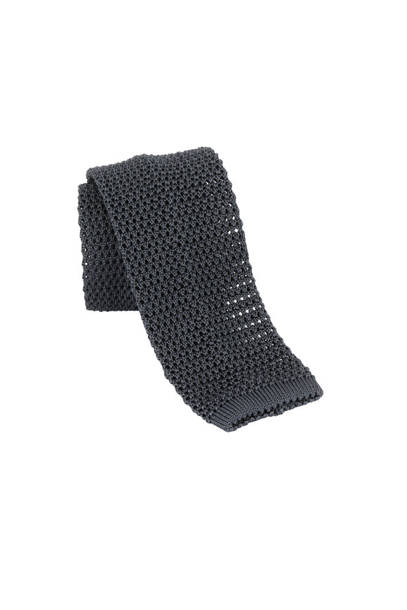 Charvet Dark Gray Silk Knit Necktie