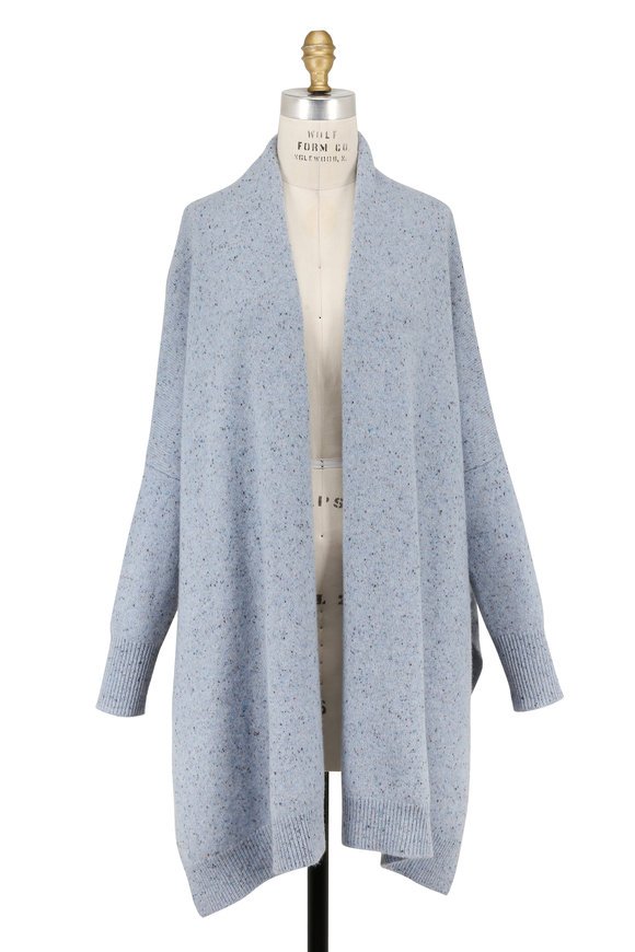 Rosetta Getty Sky Blue Speckled Cashmere Open Front Cardigan