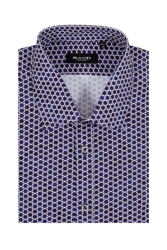 Sand Staten Blue & White Patterned Sport Shirt