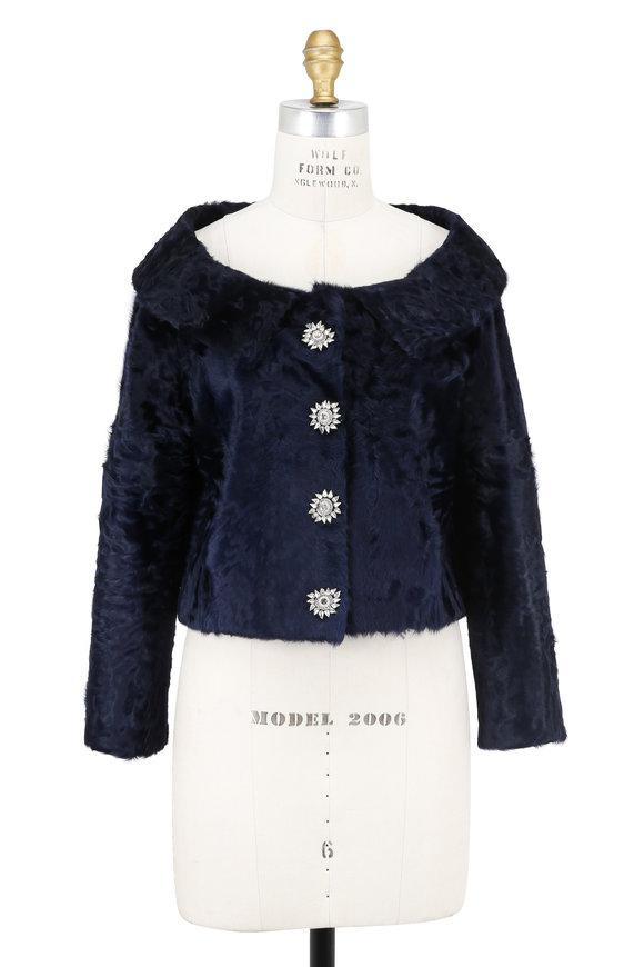 Oscar de la Renta Furs Navy Dyed Chinese Lamb Jacket