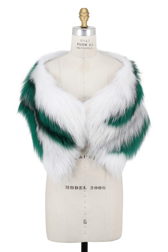 Oscar de la Renta Furs Artic Marble Fox Intarsia Stole