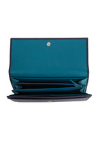 Gucci - Navy Blue Leather Swing Flap Wallet