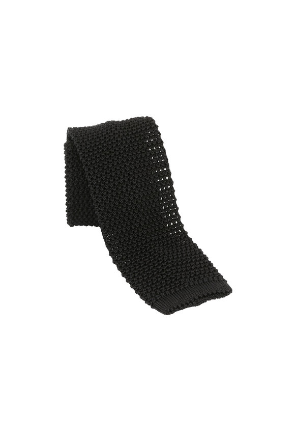Charvet Black Silk Knit Necktie
